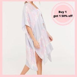 Pink and Grey Tie Dyed Kimono Cardigan Wrap